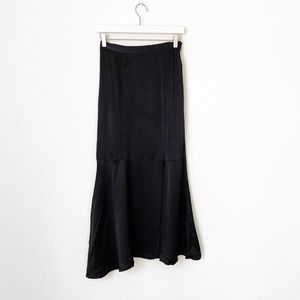 Free People Satin Maxi Skirt with Slit